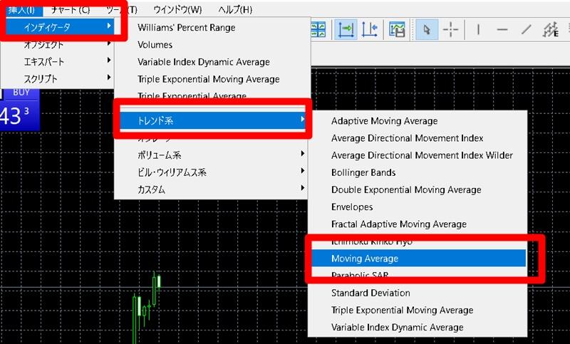 【XM】MT5で移動平均線を表示する方法