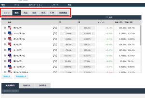 取引を行うには、赤枠部分から取引したい市場を選択