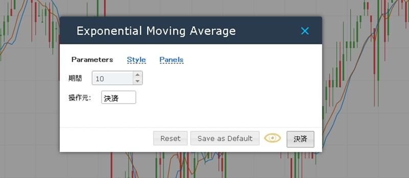 iFOREXで移動平均線の期間設定を変更する方法